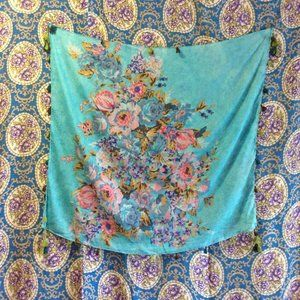 Floral Cotton Voile Scarf with Tassels